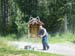 My Cousin Steve, Mowing The Lawn In Front Of The Thankfully Rarely Used Outhouse